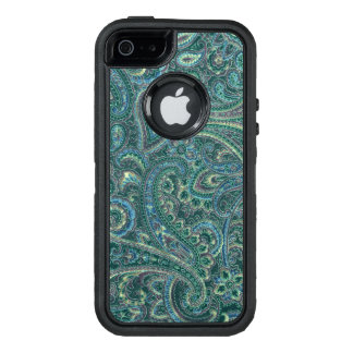Blue-Green & Beige Vintage Paisley Fabric Texture OtterBox Defender iPhone Case