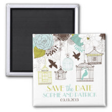Blue & Green Birdcages Floral Save the Date Magnet