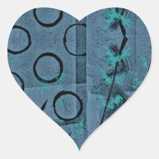 Blue Green Black Abstract Heart Sticker