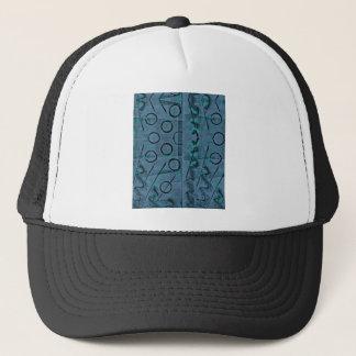 Blue Green Black Abstract Trucker Hat