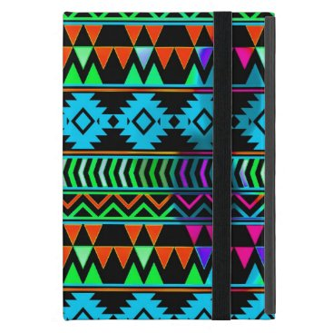 Aztec Themed Blue Green Black Boho Aztec Tribal Stripes iPad Mini Case