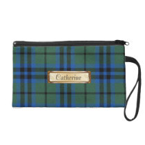 Blue, Green, & Black Keith Family Tartan Plaid Wristlet