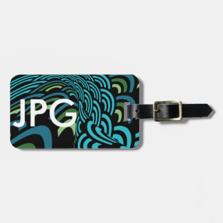 Blue Green Black Twisted Repeated Circles Pattern Bag Tag