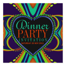 Blue Green Bohemian Dinner Party Invitation
