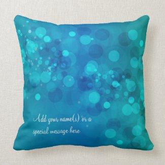 Blue Green Bokeh American MoJo Pillow mojo_throwpillow
