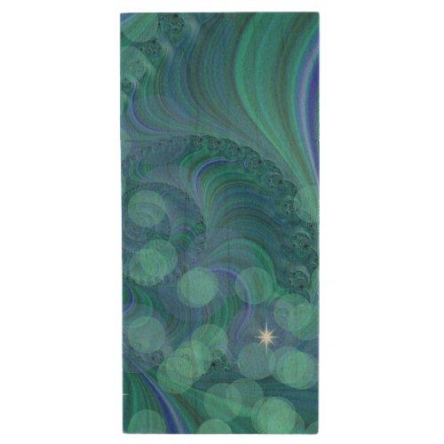 Blue Green Bokeh Light Fractal Wood Flash Drive