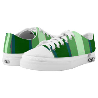 Blue Green Bold Stripes Printed Shoes