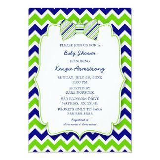 Blue Green Bow tie BOY baby shower invites