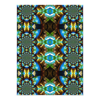 Blue Green Brown Abstract Chain Pattern Card