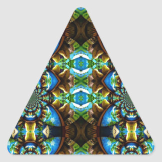 Blue Green Brown Abstract Chain Pattern Triangle Sticker