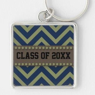 "Blue Green Brown Class of ""Graduation Yr"" Keychain"