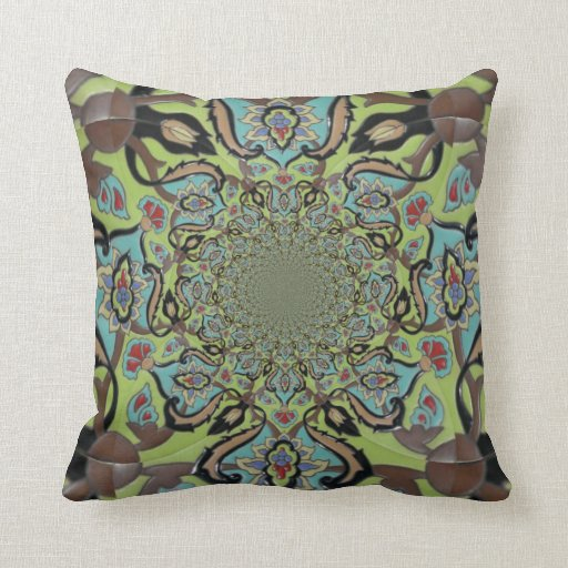 Blue Green Brown Design Throw Pillow Zazzle