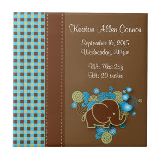 Blue, Green & Brown Plaid Baby Elephant Tile