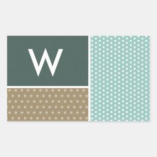 Blue, Green, Brown Polka Dots Rectangular Sticker