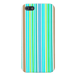 Blue Green & Brown Spring Stripes iphone 5 Case
