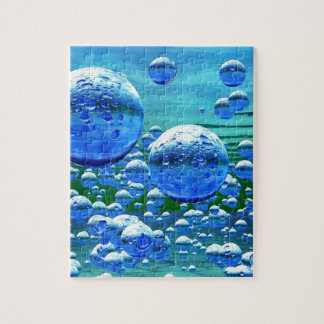 Blue Green Bubbles Teal Jigsaw Puzzle