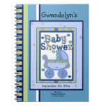 Blue Green Buggy Baby Shower Notebook
