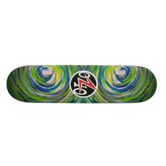 Blue Green Bullseye Skateboard