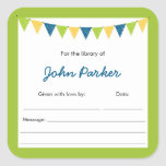 Blue Green Bunting Baby Shower book Bookplates Square Stickers