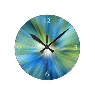 Blue Green Burst Round Wall Clock
