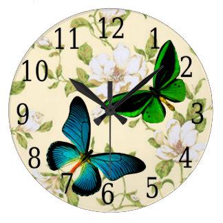 Blue & Green Butterflies On Dogwood Flowers Clock
