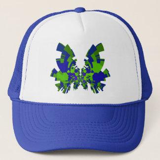 blue-green butterfly trucker hat