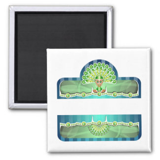 Blue Green Carnival Woman In Headdress Magnet