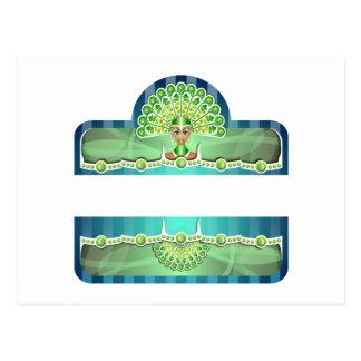 Blue Green Carnival Woman In Headdress Postcard