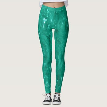 Blue green cellophane leggings