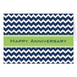 Blue Green Chevron Employee Anniversary Card