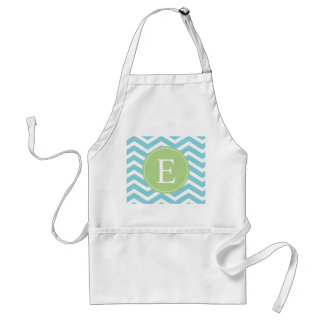 Blue Green Chevron Monogram Adult Apron