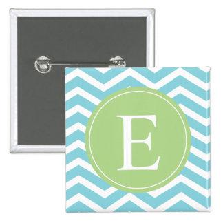 Blue Green Chevron Monogram Pins