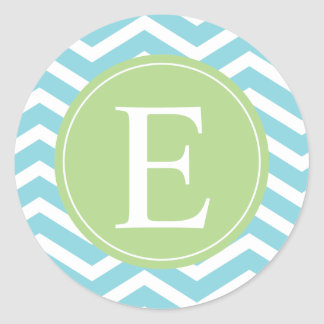 Blue Green Chevron Monogram Classic Round Sticker