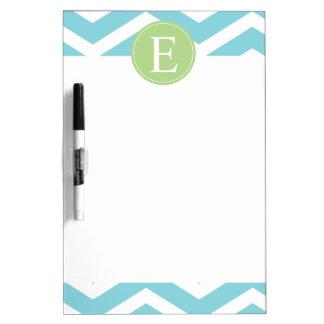 Blue Green Chevron Monogram Dry-Erase Board