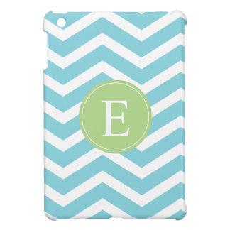 Blue Green Chevron Monogram iPad Mini Cover
