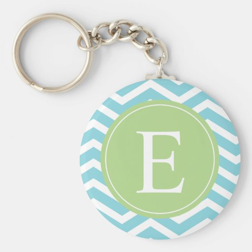 Blue Green Chevron Monogram Keychain