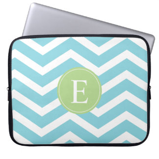 Blue Green Chevron Monogram Laptop Sleeve