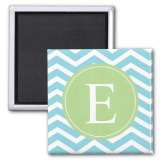 Blue Green Chevron Monogram Fridge Magnet