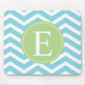 Blue Green Chevron Monogram Mouse Pad