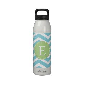 Blue Green Chevron Monogram Reusable Water Bottles