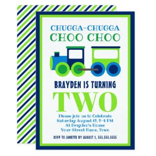 Blue Green Choo Train 2nd Birthday Party Invitation