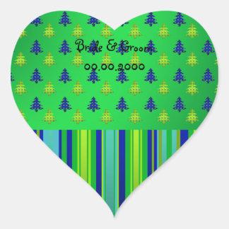 Blue green Christmas trees on blue stripes Heart Sticker