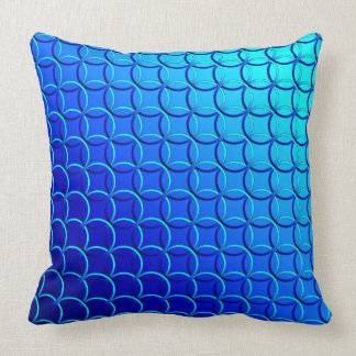 Blue Green 'Circle of Life' Pattern, Gradient Throw Pillow