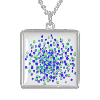 Blue Green Circle Sterling Silver Square Necklace