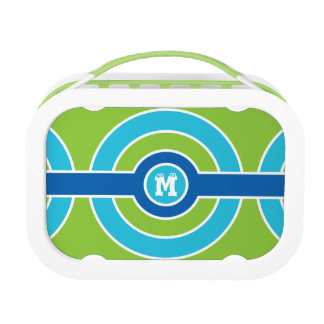Blue / Green Circles custom monogram lunch boxes