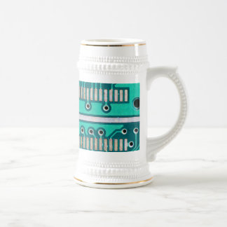 Blue Green Circuit Board - Electronics Photography Beer Stein