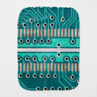 Blue Green Circuit Board - Electronics Photography Burp Cloth