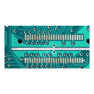 Blue Green Circuit Board - Electronics Photography Card