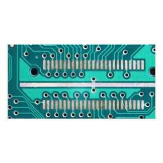 Blue Green Circuit Board - Electronics Photography Card