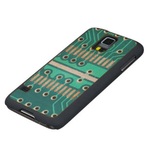 Blue Green Circuit Board - Electronics Photography Carved Maple Galaxy S5 Case
